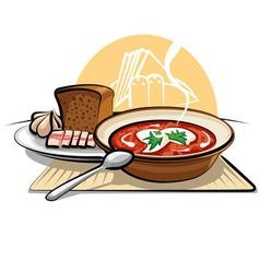 Borscht soup and garlic with ham vector
