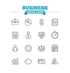 Business linear icons set Thin outline signs vector image vector image