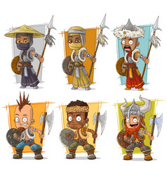 Cartoon warriors with spear character set vector