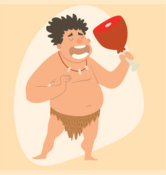 Caveman primitive stone age man cartoon vector