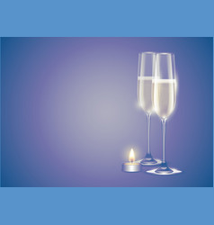 champagne two full flutes or glasses white vector image