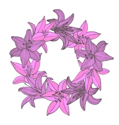 Colored lily hand-drawn garland vector