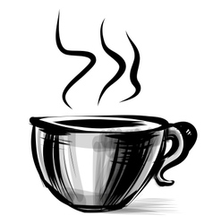 Cup with steam stylized on white vector image vector image