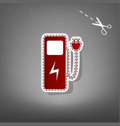 Electric car charging station sign red vector