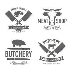 emblems set butchery vector image