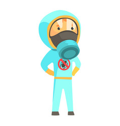exterminator in blue protection uniform pest vector image vector image
