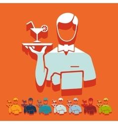 Flat design waiter vector image