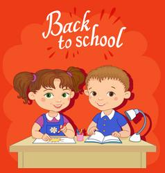 funny pupils sit on desks read draw clay cartoon vector image vector image