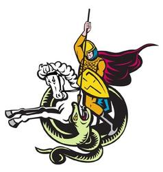 Knight riding horse vector