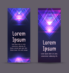 Leaflets flyers brochure template with neon vector