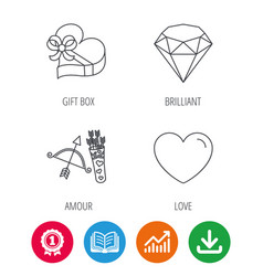 Love heart brilliant and gift box icons vector