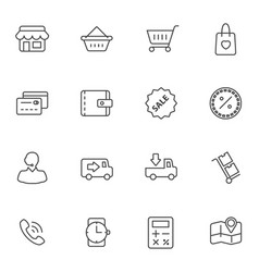 Market and shopping mall line icons set vector