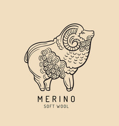 merino sheep logo label ram vector image