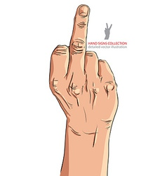 Middle finger hand sign detailed vector image vector image