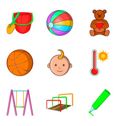 outdoor playground icons set cartoon style vector image