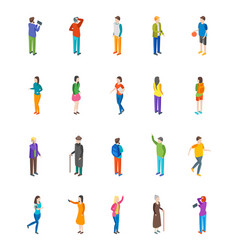 people characters icon set isometric view vector image vector image