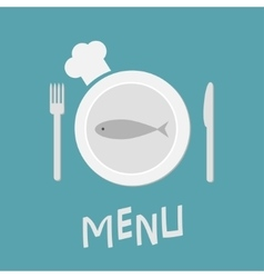 Plate with fish fork knife and chefs hat vector