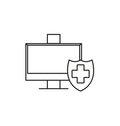protected computer icon vector image vector image