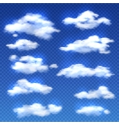 Realistic clouds isolated on checkered vector