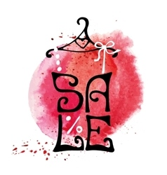 Sale letteringShirtwatercolor red splash vector image