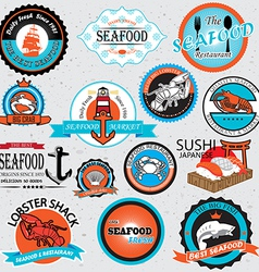 seafood symbols vector image