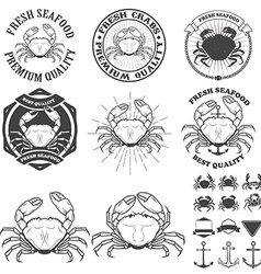 Set of crabs labels Fresh seafood vector image
