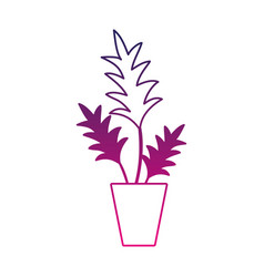 silhouette nature plant with leaves inside vector image vector image