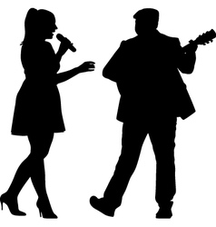 singer and guitarist vector image