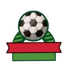 Soccer tournament thropy emblem with ball vector