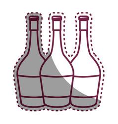 Sticker wine bottles taste beverage vector