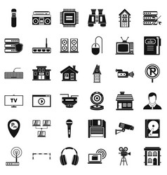 Studio camera icons set simple style vector