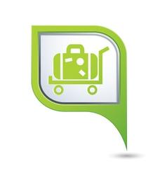 suitcase on wheelbarrow map pointer vector image vector image