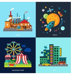 Various cityscapes colored houses amusement park vector