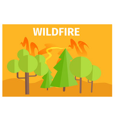 Wildfire warning ecology themed cartoon poster vector