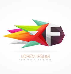 Colorful abstract logo with letter f vector