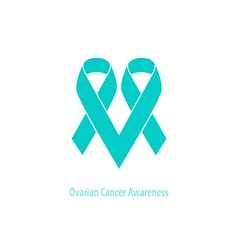 Ovarian cancer heart symbol teal ribbon flat shape vector