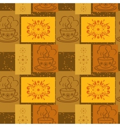 Seamless background cups and floral pattern vector
