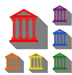 Historical building  set of red vector