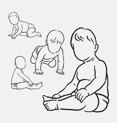 Baby activity sketches style vector