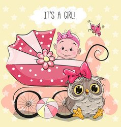 Greeting card it is a girl vector
