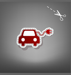 Eco electric car sign  red icon with for vector