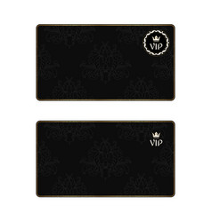 Set of two black elegant business cards with a vector
