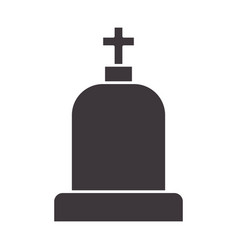 Tombstone with cross and religion funeral vector