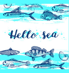 blue marine background vector image