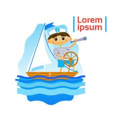 Little boy sailing sport training hobby flat vector