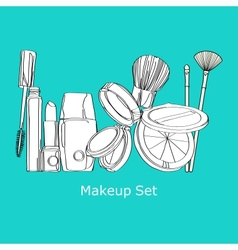 Makeup set cosmetics set vector