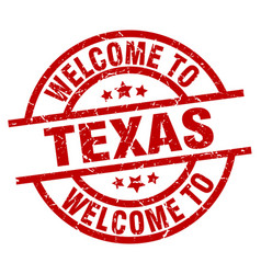 Welcome to texas red stamp vector