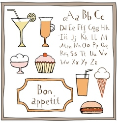Food drawings and abc set vector