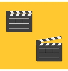 Close and open movie clapper board template icon vector