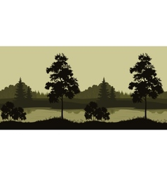 Seamless landscape trees and river vector